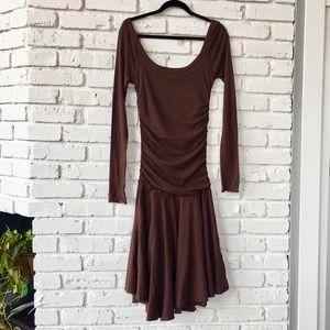 Velvet Cocoa Soft Longsleeve Midi Dress